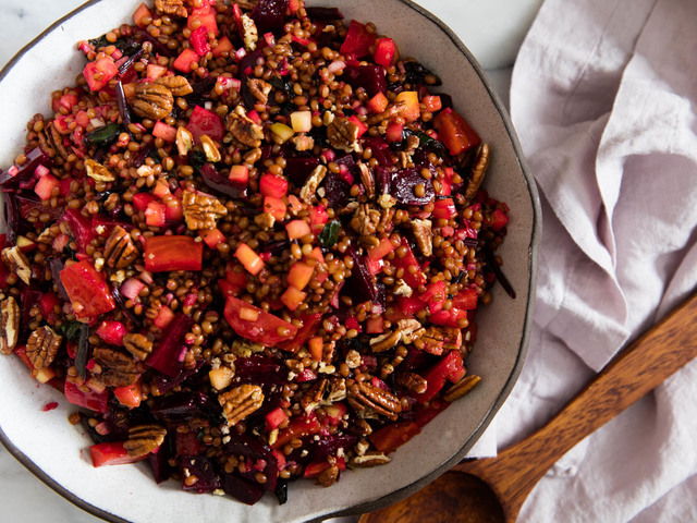 Beet and Wheat Berry Salad With Pickled Apples and Pecans Recipe