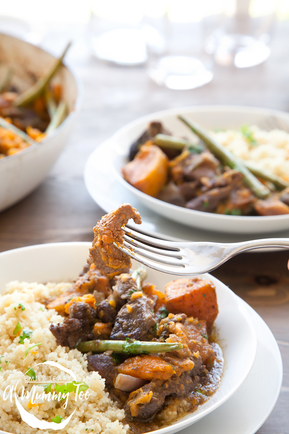 Slow cooked lamb and sweet potato casserole