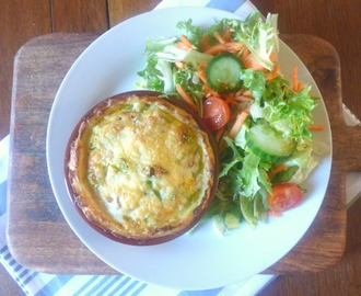 "Individual Potato, Mushroom and Bacon ""Quiche"""
