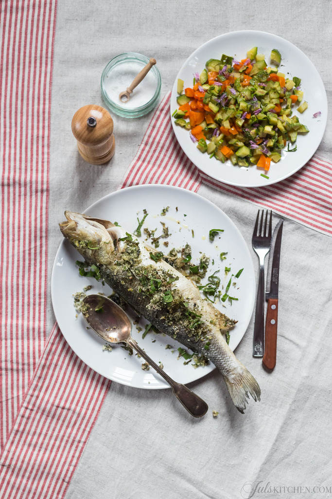 The food blogger's diet. Baked sea bass with fresh herbs from the garden