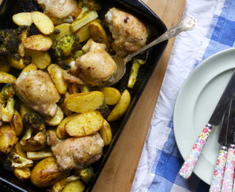 Chicken broccoli and new potato traybake