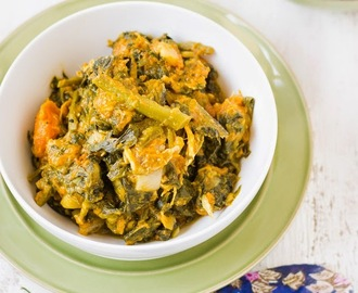 Pumpkin and Vine Spinach with fish head (  Kumro - Pui Shaak r Chanchra )