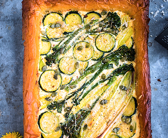 Spring Tart with Ricotta, Leek, Spouting Broccoli and Courgette