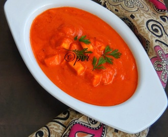 Cottage Cheese In Red Capsicum Gravy/Paneer in Red Bellpepper Gravy