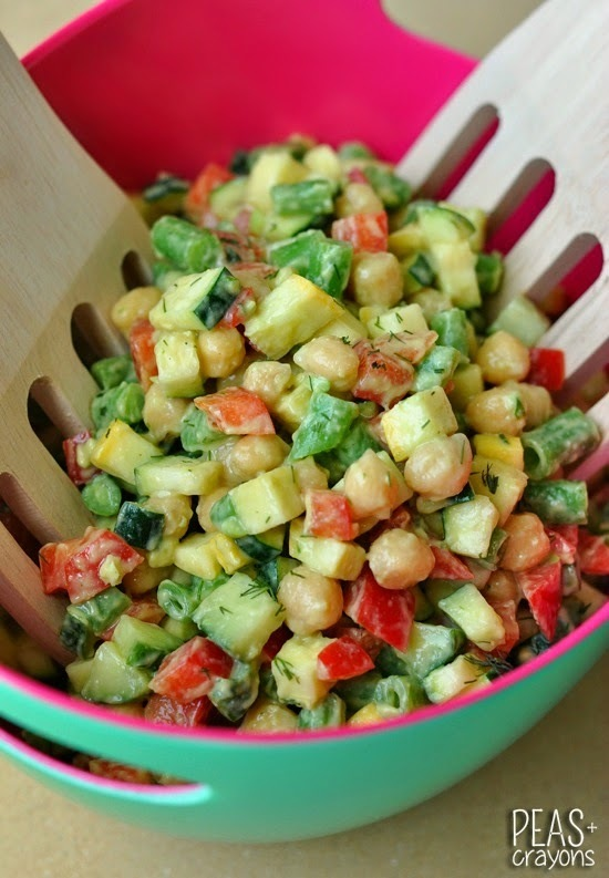 Farmer's Market Chopped Salad with Creamy Avocado Dill Dressing