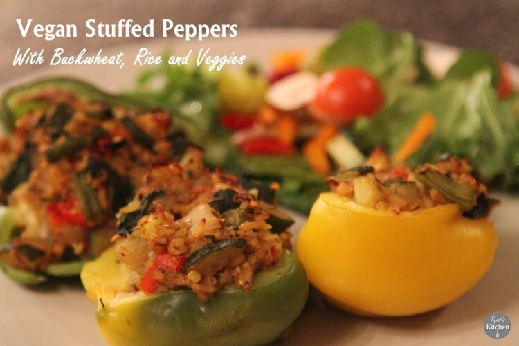 Vegan Stuffed Peppers with Buckwheat, Rice and Veggies