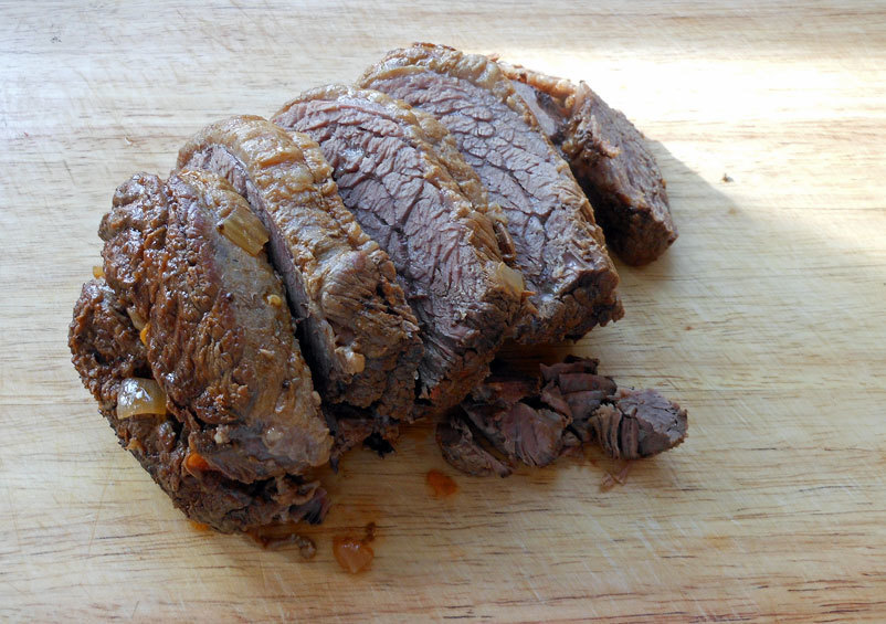 Sweet and tangy slow cooker beef brisket