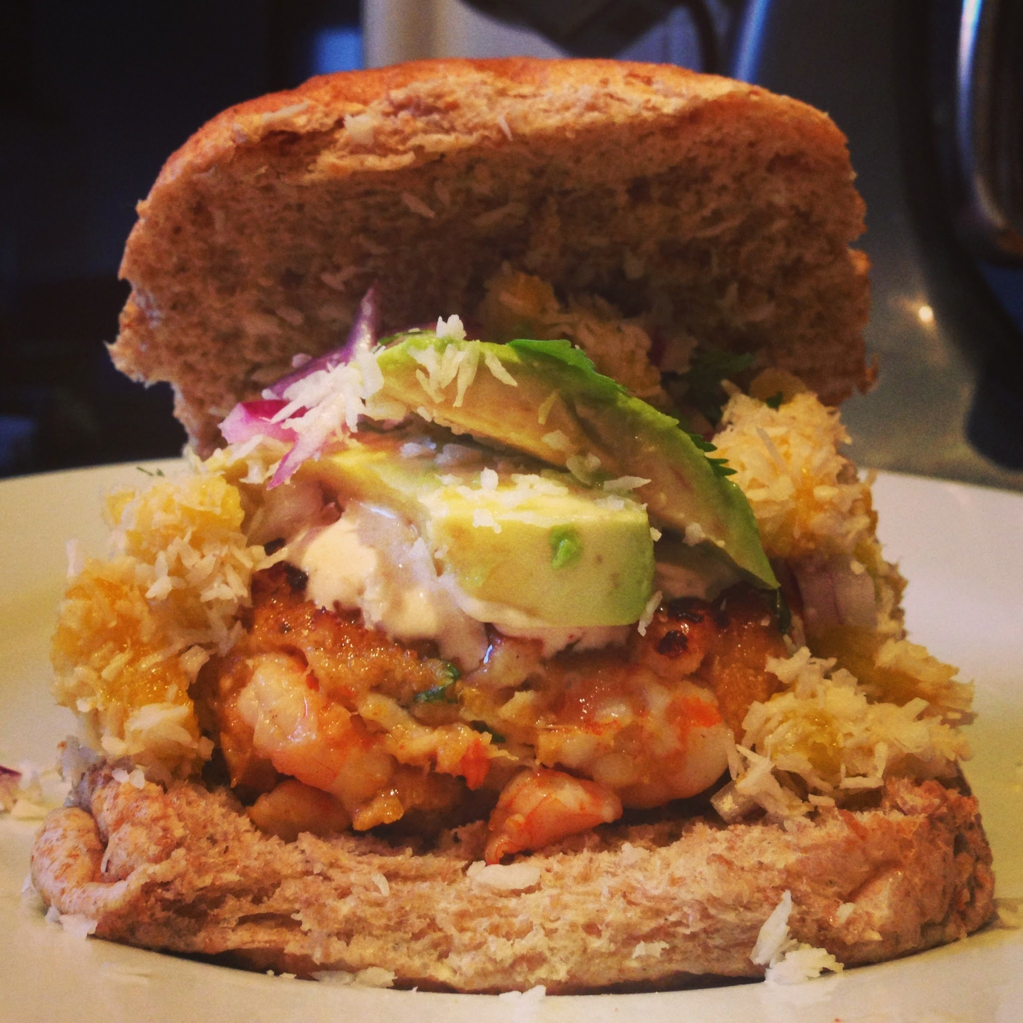 Throwback Thursday: Prawn burger with chipotle cream and coconut & peach salsa