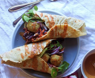 BROWN RICE FALAFEL WRAPS W/ WATERCRESS (+german version)