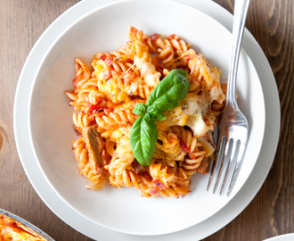 30-minute Quorn™ Meat Free Steak Strips pasta bake