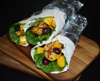 Homemade Wraps with Poultry-, Mango-, Grape- and Walnut-Filling