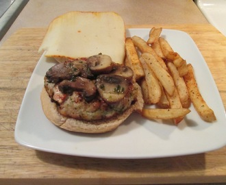 Ranch, Mushroom, and Muenster Cheese Turkey Burger w/ Baked Fries