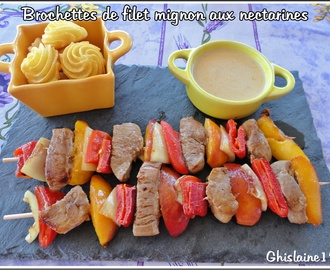 Brochettes de filet mignon aux nectarines