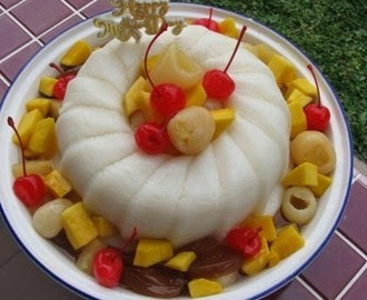 Almond Jelly Cake With Mixed Fruit