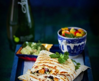 Low Fat Black Bean and Sweet Potato Quesadilla for National Vegetarian Week 16th - 22th May 2016 #NVW2016 #jcookingodyssey
