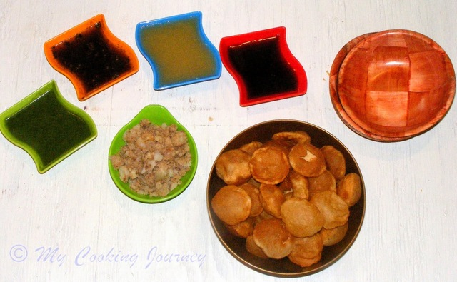 Pani Puri / Gol Gappas with Homemade Puris and 4 different Panis