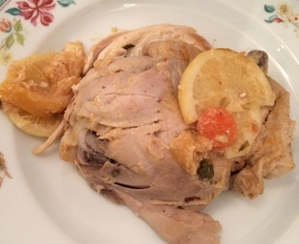 Chicken in white wine with lemon and garlic