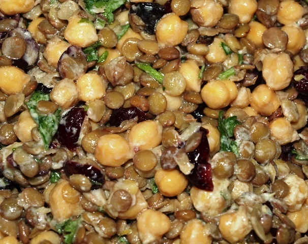 Lentil & Chick Pea Salad with Dried Cherries and Creamy Lemon Yogurt Dressing