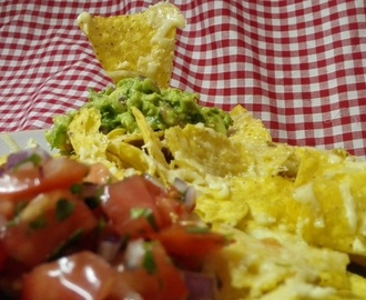 Nachos with Guacamole Salsa and Cheese