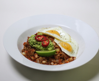 vegetarian quorn chilli with spicy guacamole and eggs.