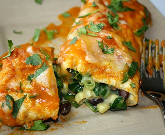 Amazing Black Bean Spinach Enchiladas