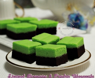 Steamed Brownies & Pandan Cheesecake (Brownies Kukus Lapis Cheesecake Pandan)