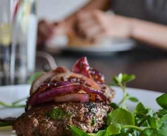 Garlic Beef Burgers with Fried Red Onion and Watercress