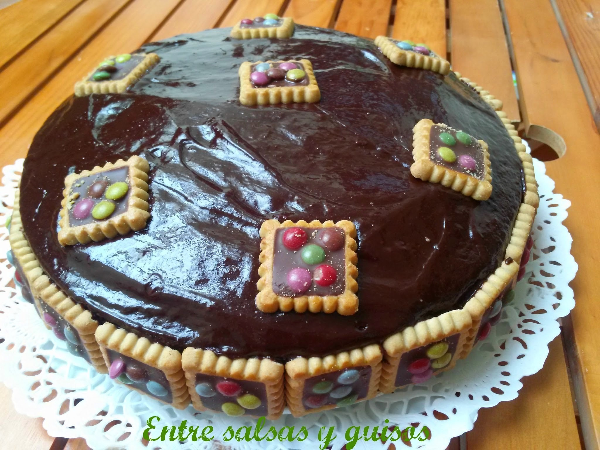 Tarta rápida de galletas maria y chocolate