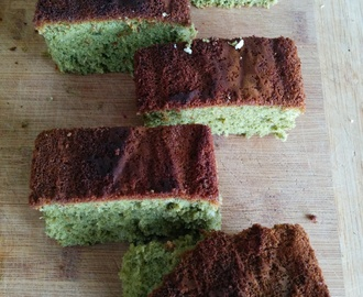 Kasutera: Japanese castella cake (honey and matcha versions)
