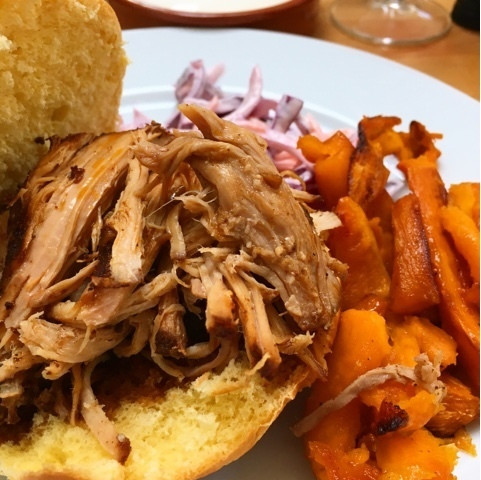 Slow cooker Asian pulled pork with ginger, five spice and coleslaw