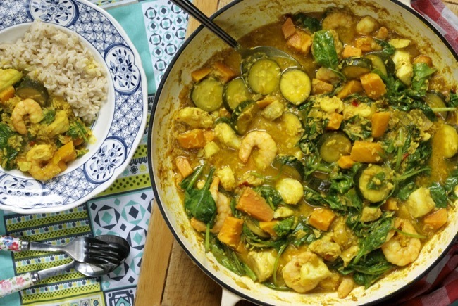 Mild fish and vegetable coconut curry