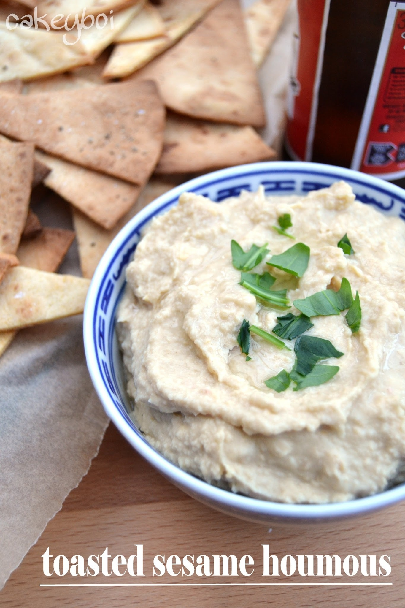 Toasted Sesame Houmous with Corn Tortilla Chips