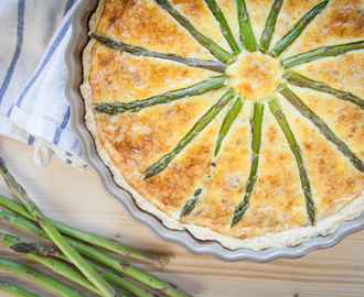 Asparagus quiche with pecorino and prosciutto