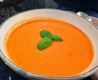 Roasted Red Pepper Soup with Mascarpone and Fresh Basil