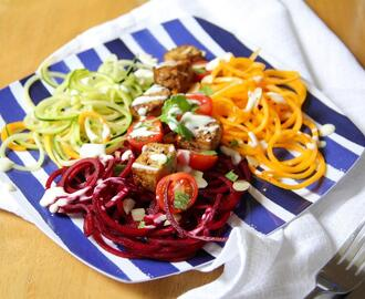 Spiralised Salad with Sichuan Spiced Tofu | Vegan