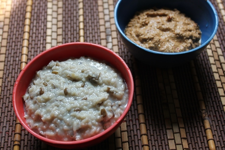 Ulundu Kanji & Thengai Kothamalli Thogayal / Rice & Urad Dal Porridge with Coconut & Coriander Seed Chutney - Rice Cooker Recipes