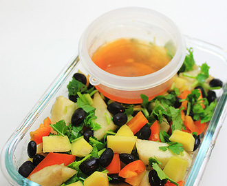 Black Bean, Mango and Apple Salad with Maple Butter-Sriracha Lemon Dressing