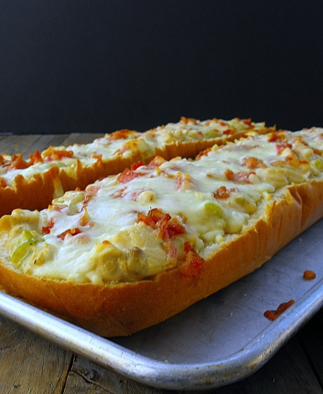 Chicken Alfredo French Bread Pizza