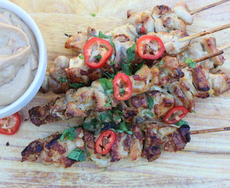 Crispy Chicken Satay with Peanut Dipping Sauce
