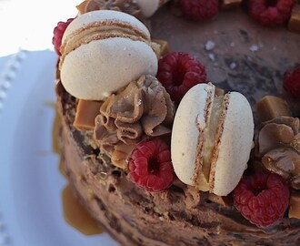 Naked raspberry salted caramel chocolate cake