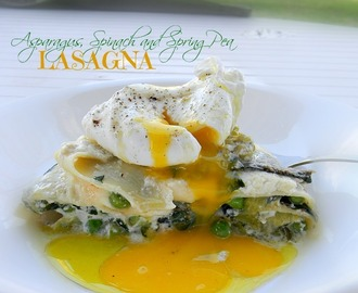 Poached Egg Topped Spring Vegetable Free-Form Lasagna ♥ The Best Way to Celebrate Spring