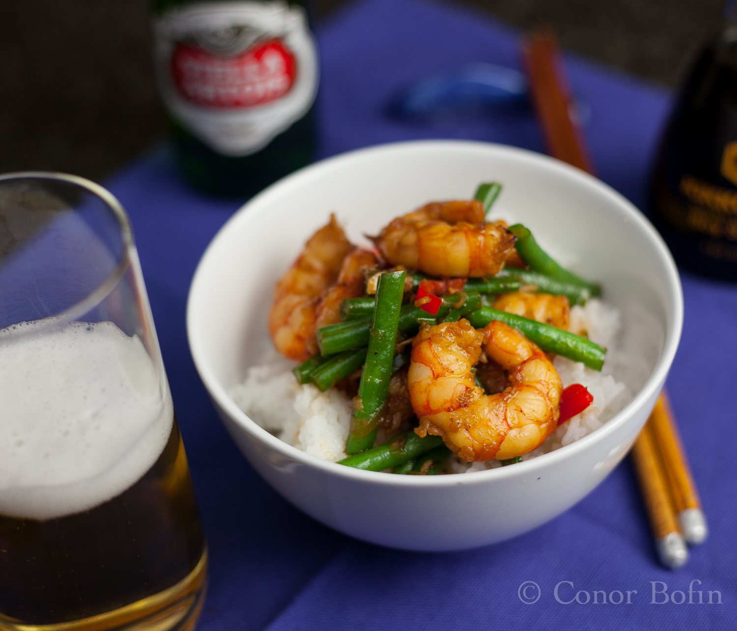 Easy oriental part 9 – Prawns with honey, chili and green beans even though you don't deserve it.