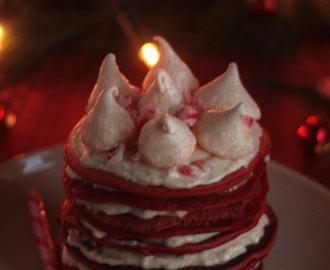 Xmas Red Velvet Candy Cane Pancakes with Cream Cheese
