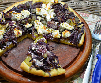 Yellow beet, goat's cheese and caper pizza from Diana Henry