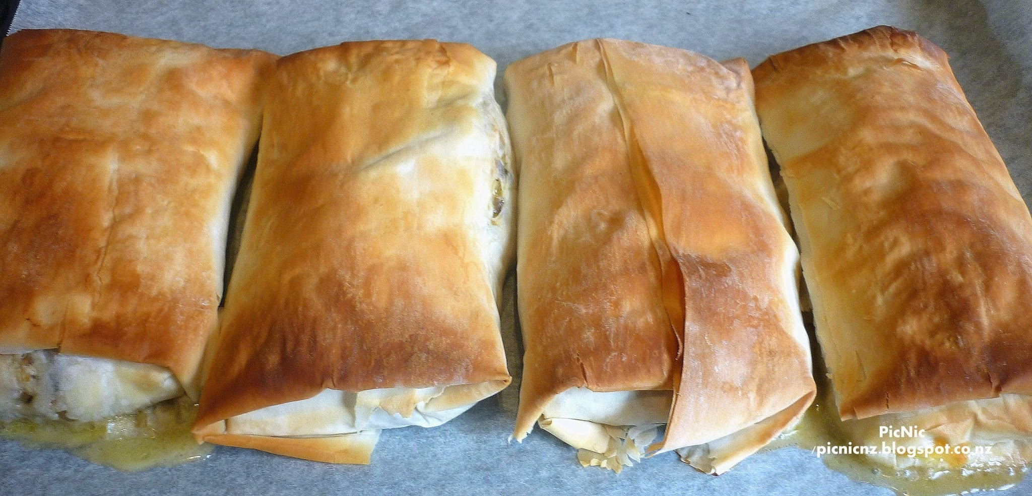 Chicken and Creamy Mushroom Filo Parcels