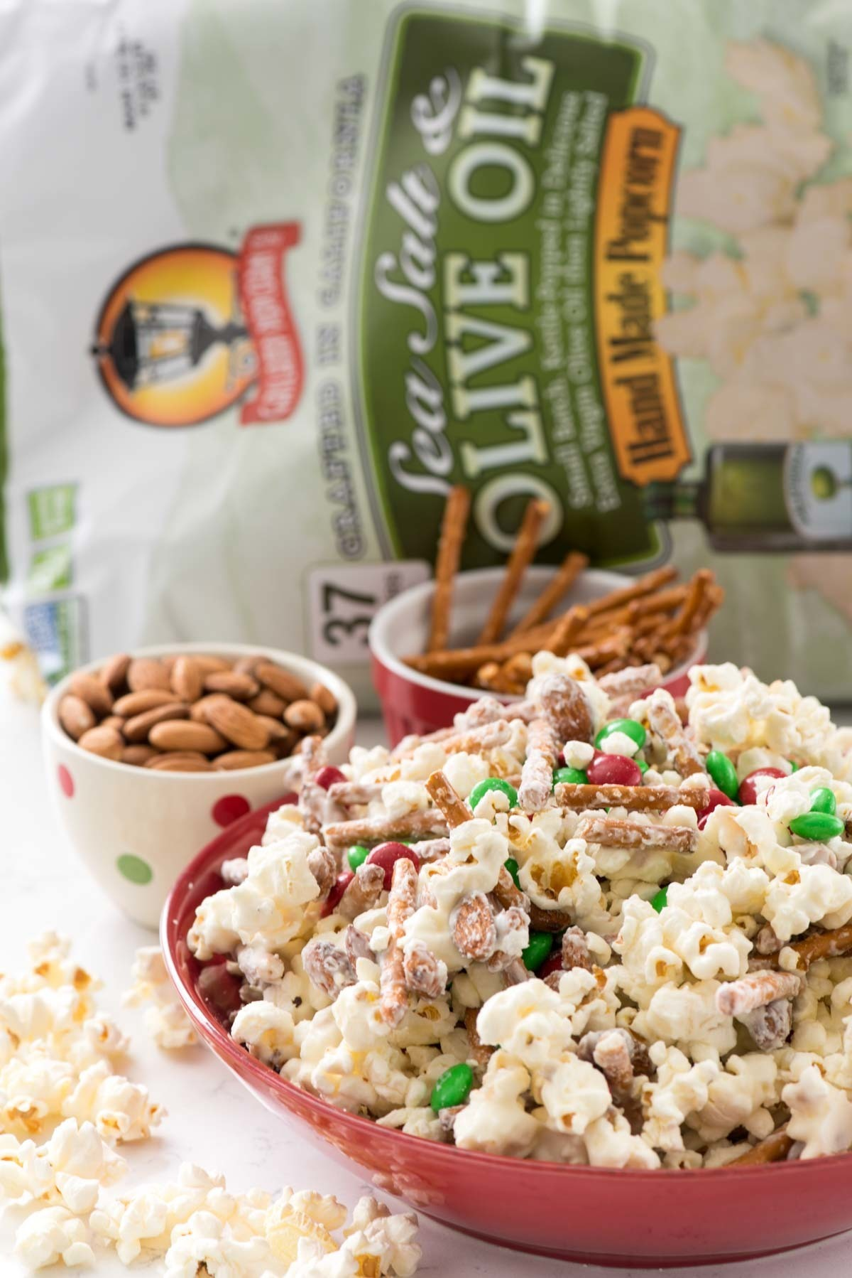 Easy 5 ingredient Santa Munch Popcorn Snack Mix made with Gaslamp Popcorn
