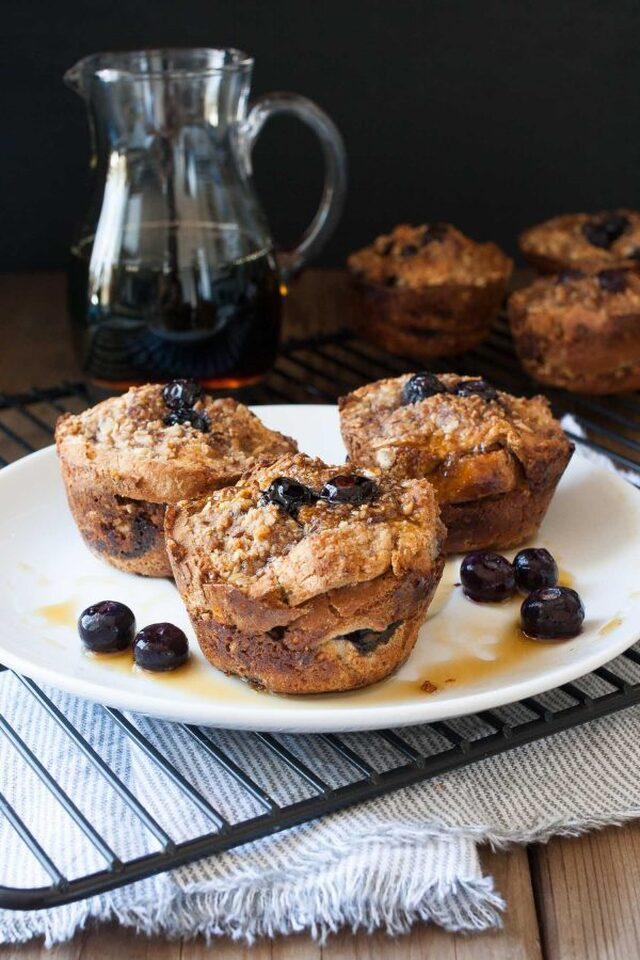 Vegan Blueberry French Toast Breakfast Muffins