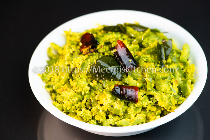 Peechinga Thoran / Ridge gourd with Coconut - MeemisKitchen