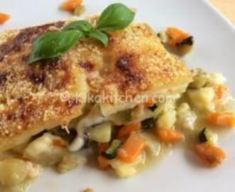 Patate con verdure gratinate in forno