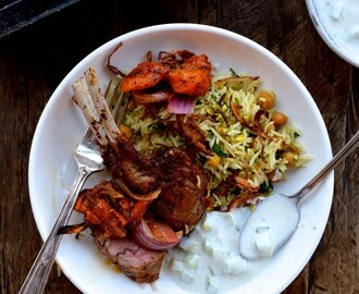 Roasted Rack of Lamb w/ Turkish Spices, Yogurt Sauce, and Rice